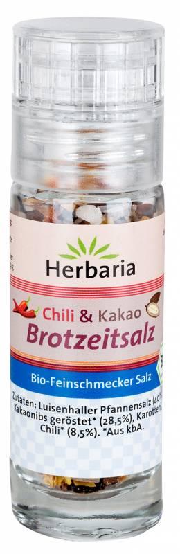 Herbaria BIO Chili & Kakao Brotzeitsalz - Mini-Mühle 12g