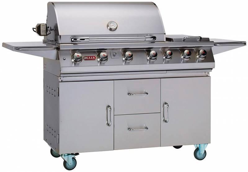 BULL 7 Burner Premium - Grillstation mit Infrarot Backburner, Seitenkochstelle und Rotisserie
