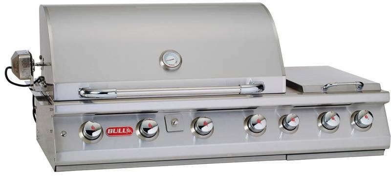 BULL 7 Burner Premium Gasgrill - Built-In Einbaugrill mit Infrarot mit Backburner, Seitenkocher und Rotisserie
