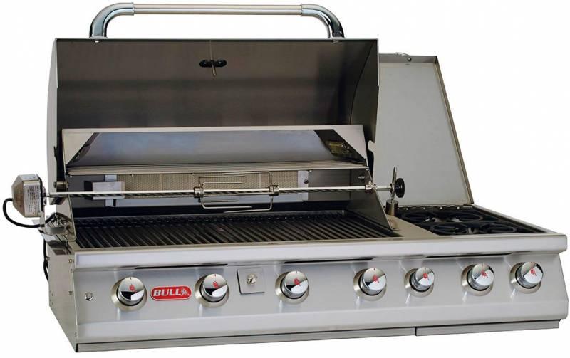 BULL 7 Burner - Premium Built-In Einbaugrill mit Infrarot Backburner, Seitenkochstelle und Rotisserie