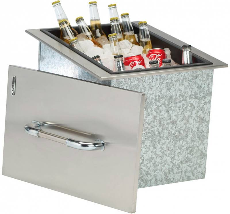 BULL Kühlbox, Edelstahl mit Abdeckung und Abfluss