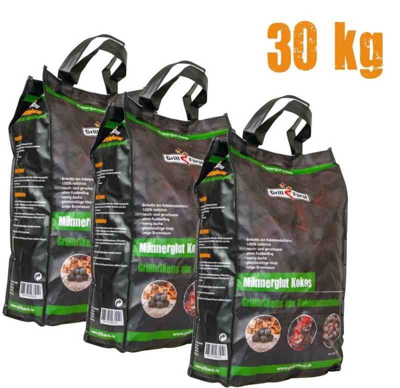 Männerglut Kokos - 30 kg Grillbriketts aus Kokosnuss-Schalen