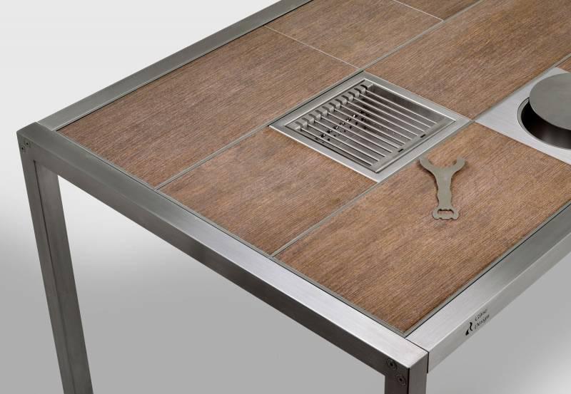 Girse Magic Table klein - Grilltisch 7 Fliesen Holzdekor