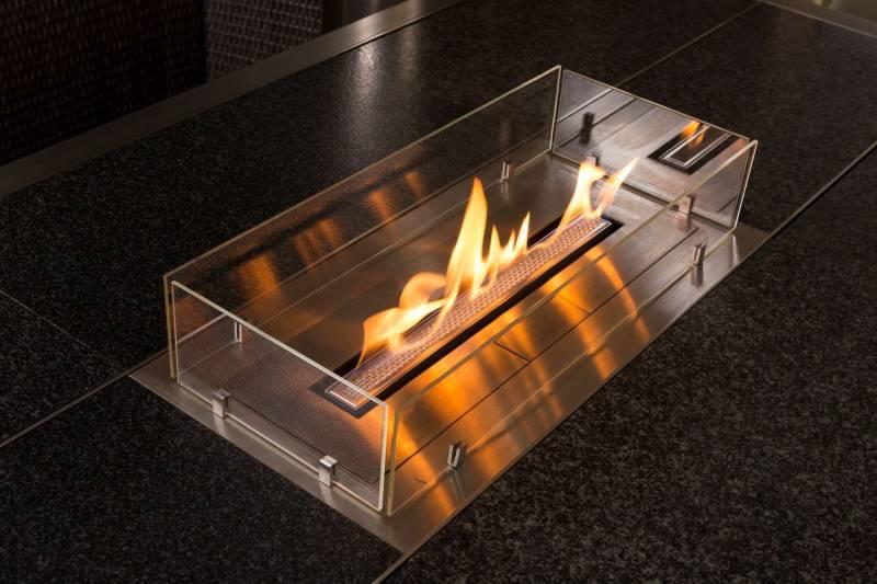Girse Magic Table Einsatz: Bioethanol-Dekofeuer inkl. Schutzglas (589x294mm)