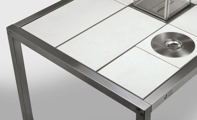 Girse Magic Table klein - Grilltisch 7 Fliesen Schiefer, weiß