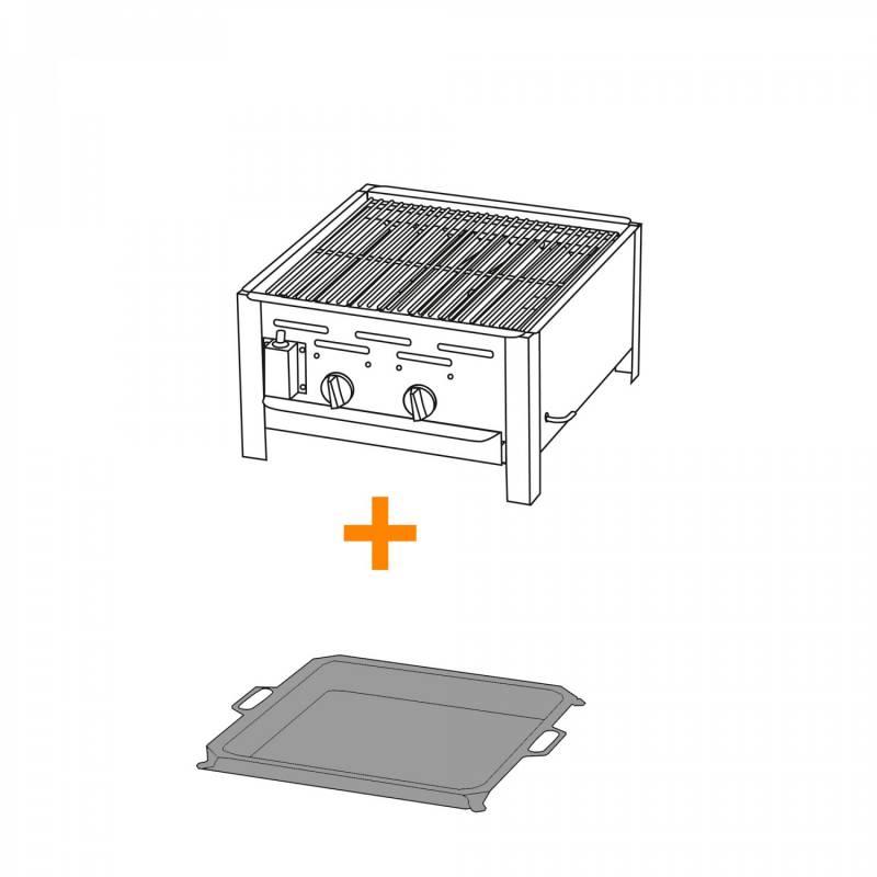 2-Brenner Gastrobräter mit verchr. Rost + Stahlpfanne
