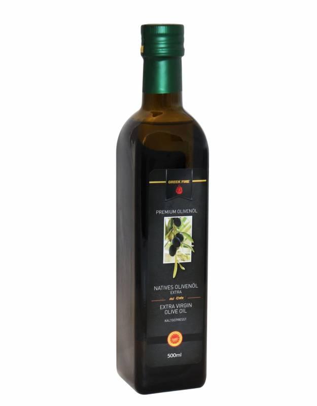 Greek Fire Premium Olivenöl 500 ml Flasche