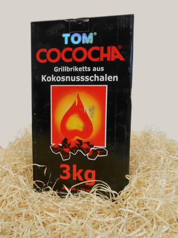 TOM Cococha Rot BBQ Grillbriketts 15kg - 4,0 x 3,0 x 2,5 cm
