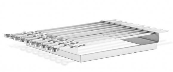 Thüros Zubehör: Schaschlik Spießaufsatz mit 10 Spießen für T3, Toronto, Amrum (Grillfläche 42x42 cm)