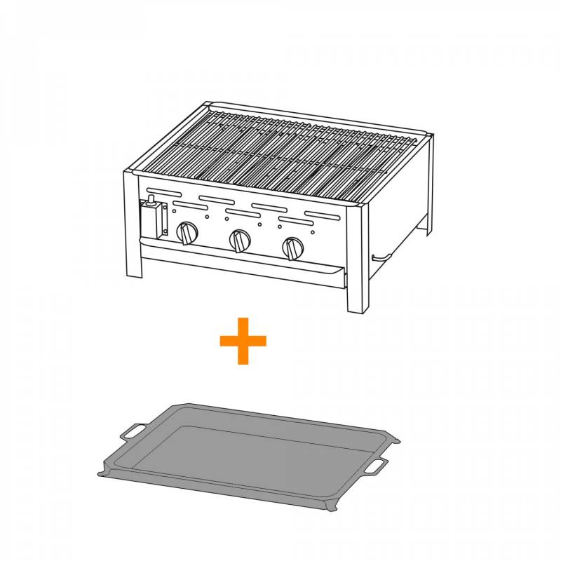 TGO 3-Brenner Gastrobräter / Gasbräter mit Rost + Stahlpfanne