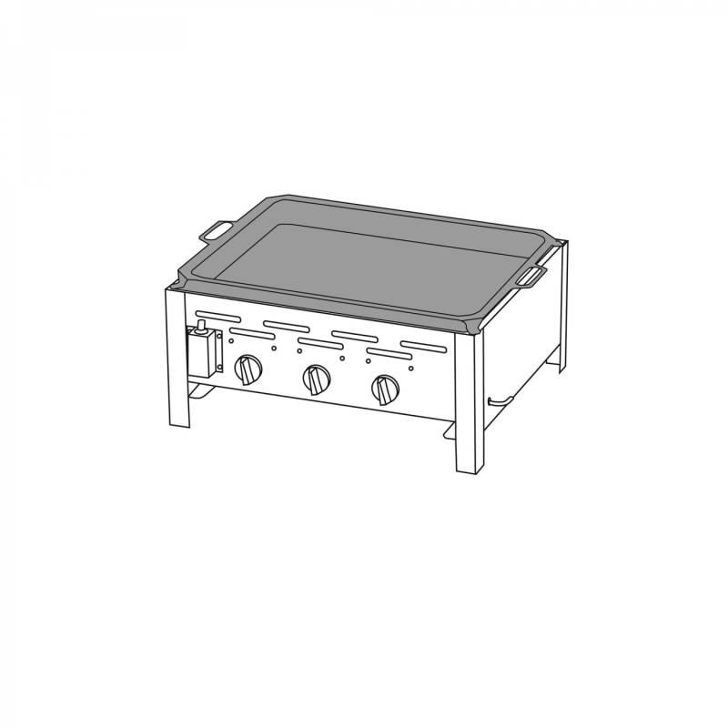 3-Brenner Gastrobräter mit Stahlpfanne