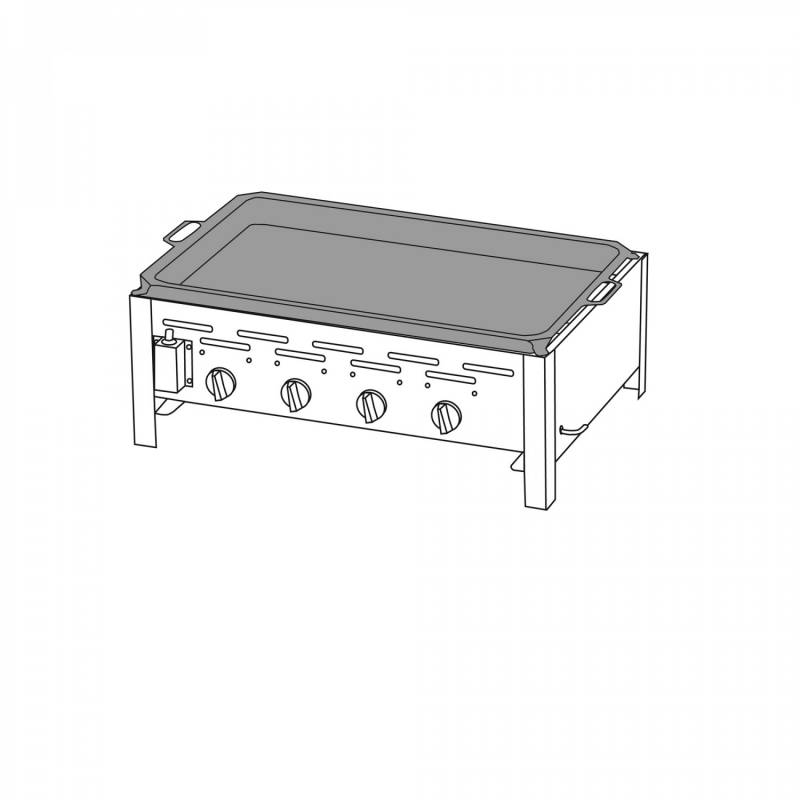 TGO 4-Brenner Gastrobräter / Gasbräter mit Stahlpfanne