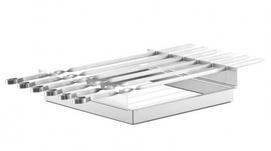 Thüros Zubehör: Schaschlik Spießaufsatz mit 6 Spießen für T1, Tischgrill, Minicater (Grillfläche 30x30 cm)