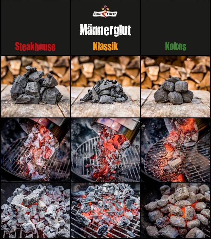 Männerglut Premium Holzkohle Buchenholzkohle - Eichenholzkohle Mix 300KG