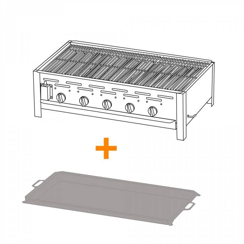 5-Brenner Gastrobräter mit verchr. Rost + Stahlpfanne