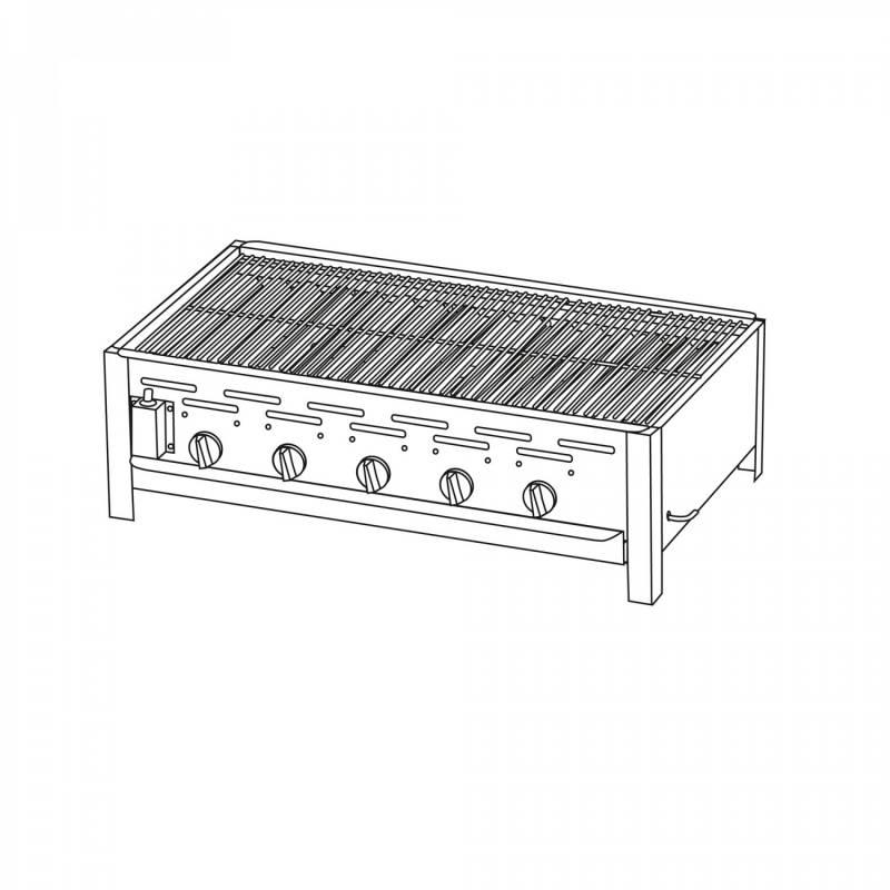 TGO 5-Brenner Gastrobräter / Gasbräter mit verchromten Rost