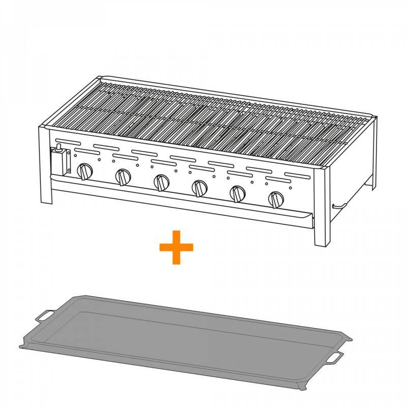 6-Brenner Gastrobräter mit verchr. Rost + Stahlpfanne