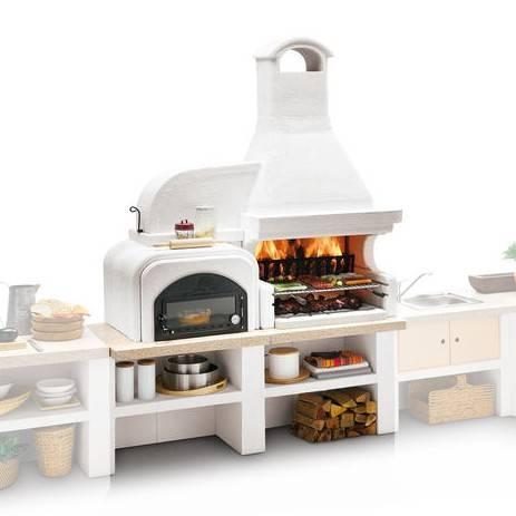Palazzetti Gartenküche Malibu 2 Modul: Grill mit Backofen links
