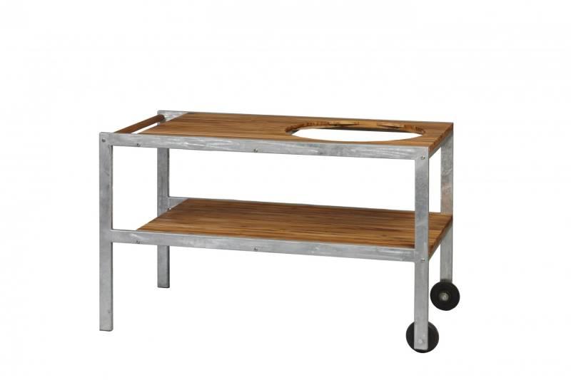 Monolith CLASSIC Tisch aus verzinktem Stahl mit Teak