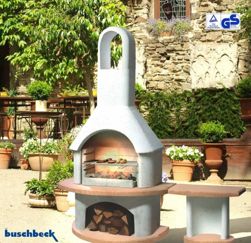 Buschbeck Gartengrillkamin Carmen mit Tisch grau-terra
