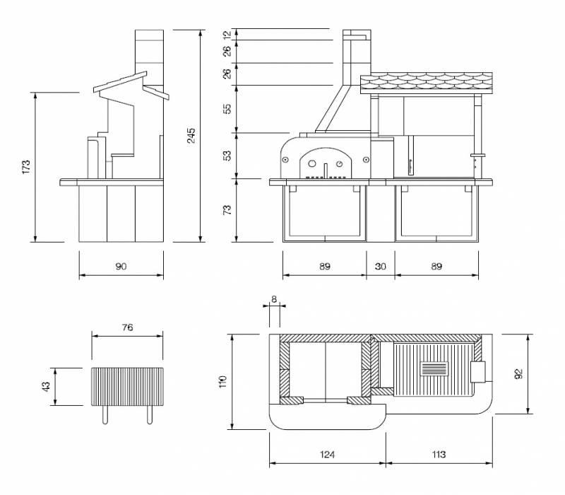Palazzetti Grillkamin Antille Forno Komplett Set