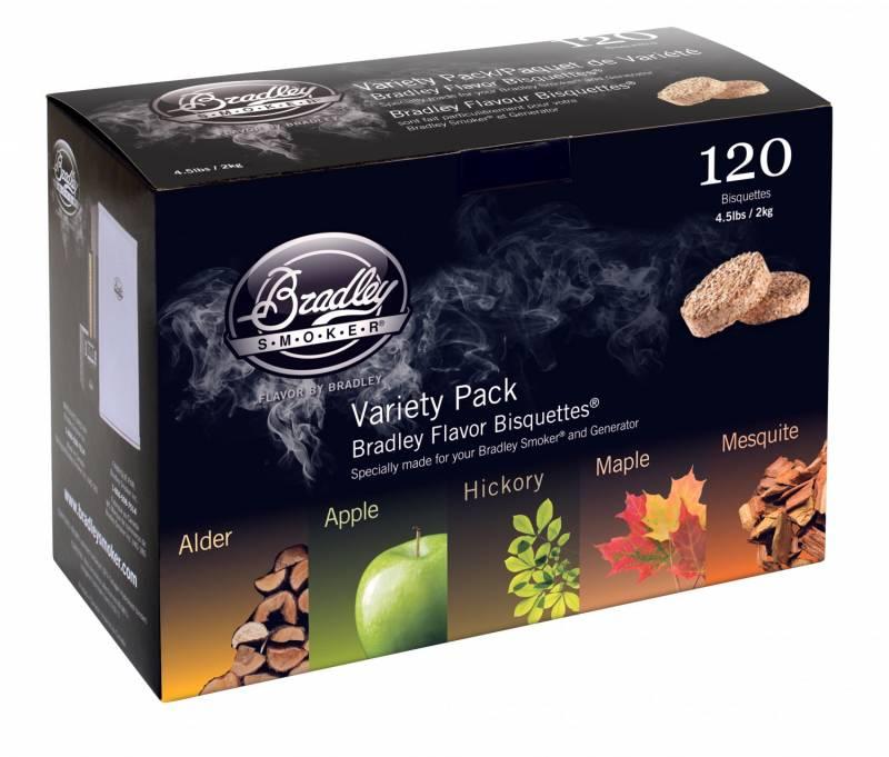 Bradley Smoker 120 Bisquetten - Five Flavour Varieties