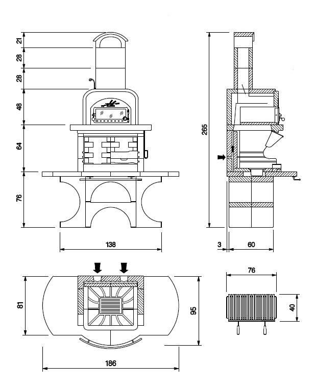 Palazzetti Grillkamin Capri 2 mit Backofen Komplett Set