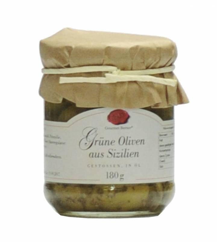 Gourmet Berner Grüne Oliven aus Sizilien - gestossen in Öl 212ml / 180g