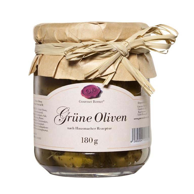 Gourmet Berner Große grüne Oliven ohne Stein 212ml / 180g