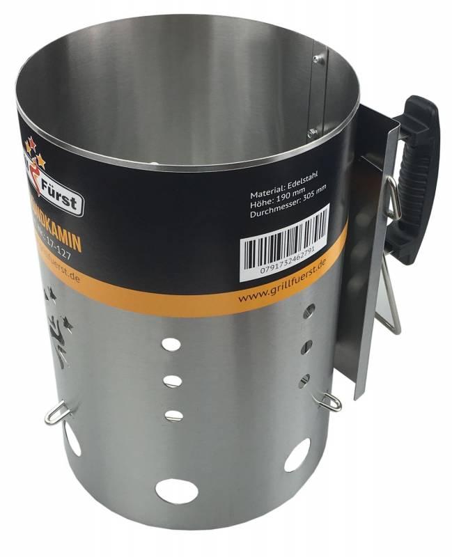 Grillfürst Anzündkamin Premium Edelstahl, Durchmesser 19 cm, Höhe 30,5 cm, mit Sicherheitsgriff