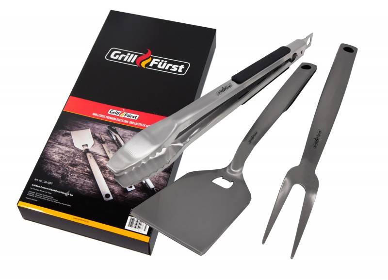 Grillfürst Premium Edelstahl Grillbesteck Set mit Grillzange, -Wender und -Gabel in Geschenkverpackung