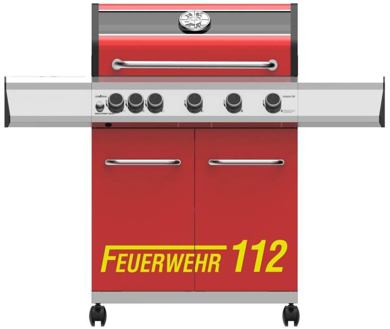 Grillfürst G510G 5-Brenner Gasgrill mit Hochtemperaturbrenner und Gusseisen Rosten - Feuerwehr Edition