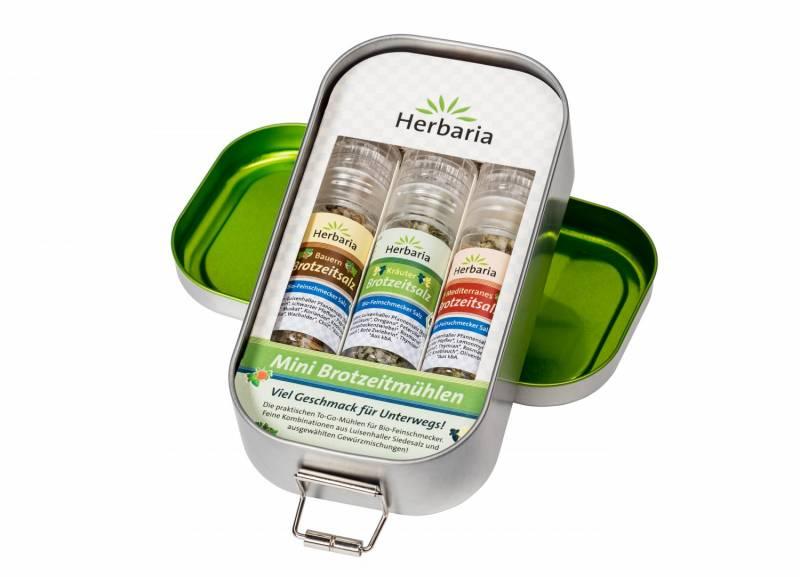Herbaria BIO Lunchbox mit 3 Mini-Brotzeitmühlen