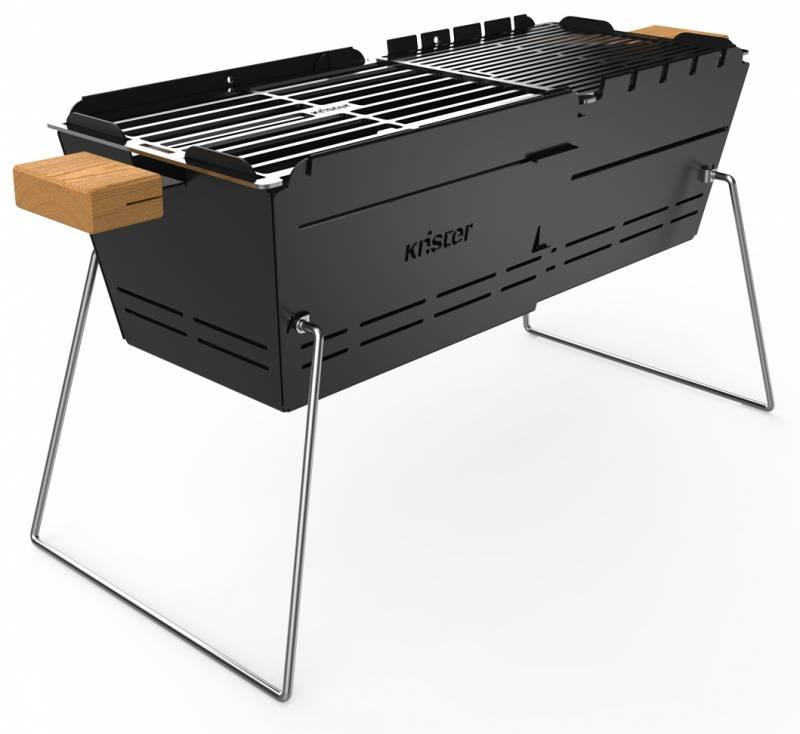 Knister Grill Original - ausziehbarer Holzkohle Kompaktgrill
