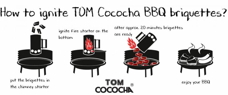 TOM Cococha Rot BBQ Grillbriketts 10kg - 4,0 x 3,0 x 2,5 cm