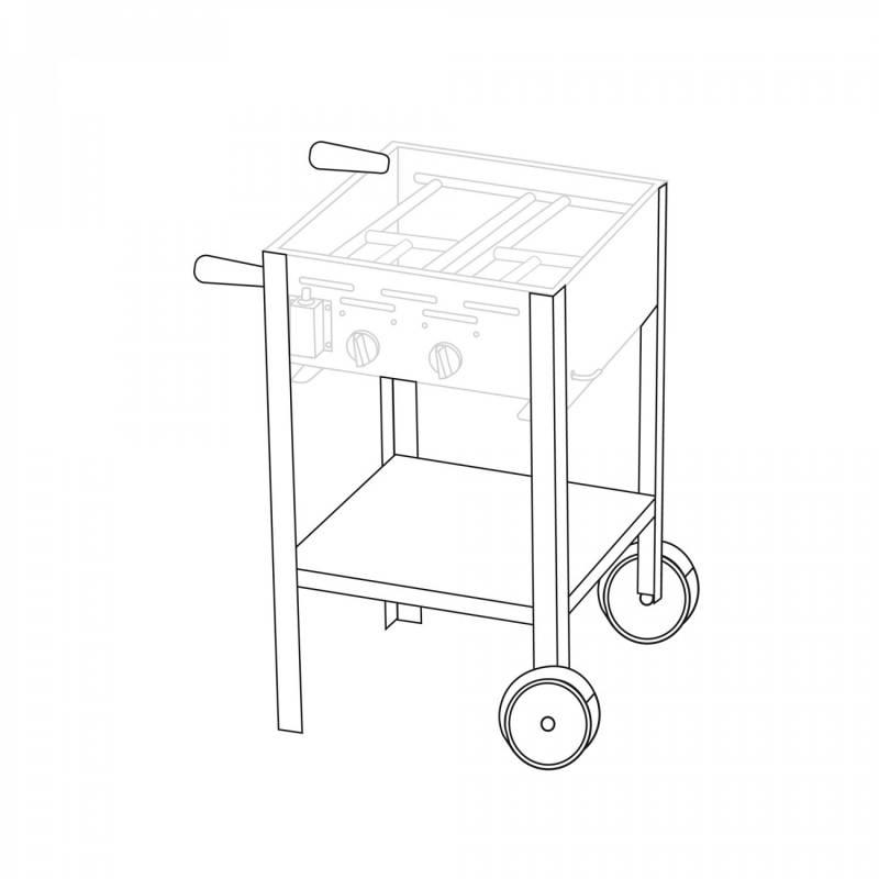 Untergestell fahrbar für 2 Brenner Gastrobräter TGO