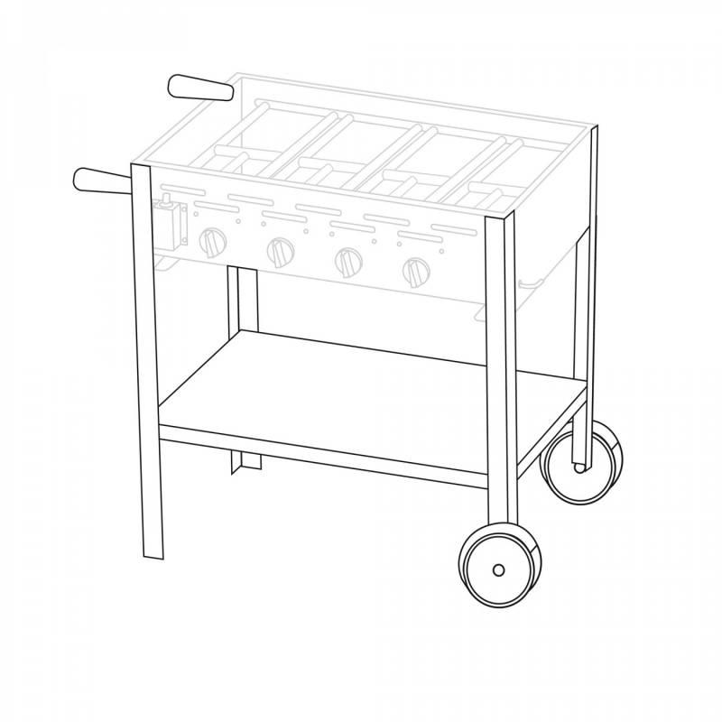 Untergestell fahrbar für 4 Brenner Gastrobräter TGO