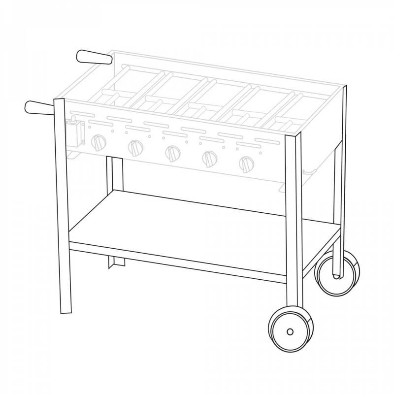 Untergestell fahrbar für 5 Brenner Gastrobräter TGO