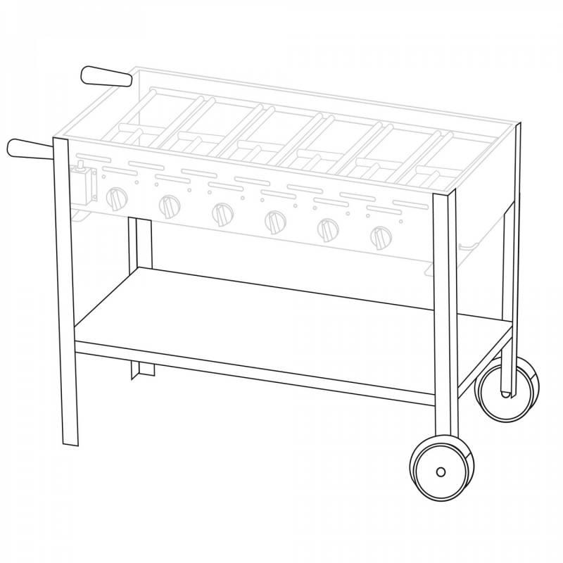 Untergestell fahrbar für 6 Brenner Gastrobräter TGO