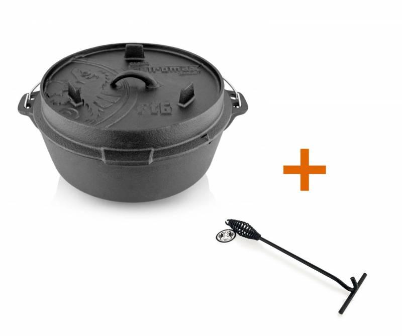 Petromax Feuertopf 5,7 Liter Dutch Oven - mit Füßen - exklusiv mit Deckelheber