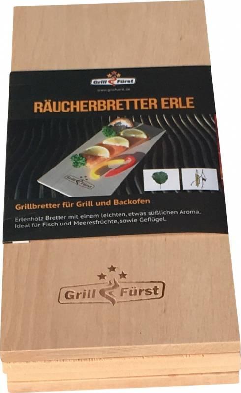 Grillfürst Räucherbretter Erle 29 x 13 x 1cm 4er Set