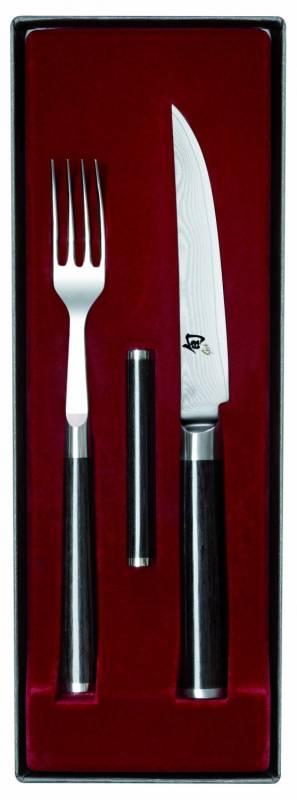 Kai Shun Steakbesteck Set (Gabel + Steakmesser + Bänkchen)