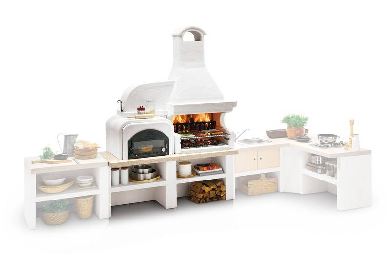 Palazzetti Gartenküche Malibu 2: Modul Grill mit Backofen links inkl. Montagematerial