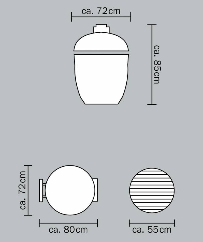Monolith Grill LeChef Black ohne Gestell und Seitentische MG23BNC - Set