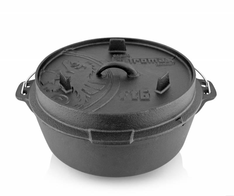 Petromax Feuertopf 5,7 Liter Dutch Oven - mit Füßen - exklusiv mit gratis Gussrost Einsatz