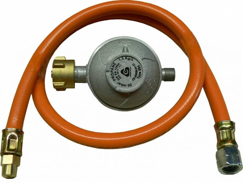 TGO Anschlußgarnitur, D-Regler 50mbar mit Schlauch, Druckgasdosenanschluss 7/16x28 an Gasflasche