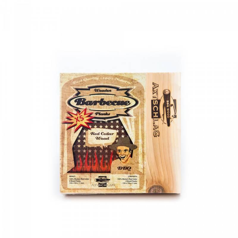Auslaufartikel - Axtschlag Räucherbretter (Wood Planks) 4er Pack Western Red Cedar - Rotzeder XS 15 x 15cm