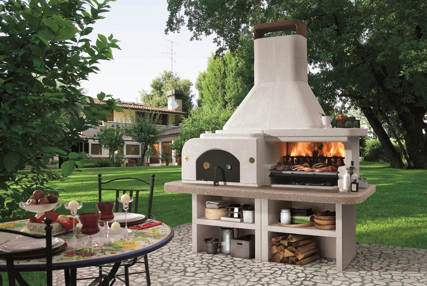 palazzetti gargano 3 grillkamin der gartenkamin mit pizzaofen. Black Bedroom Furniture Sets. Home Design Ideas