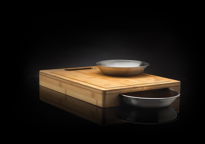 napoleon pro schneidebrett mit 2 edelstahl schalen. Black Bedroom Furniture Sets. Home Design Ideas