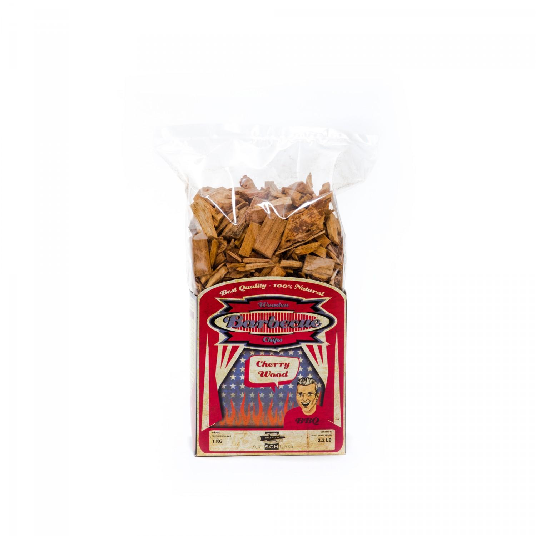 Axtschlag Räucherchips Kirsche - große Woodchips Kirsche als Grillholz